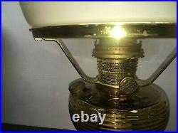 Aladdin BEEHIVE Lamp Honey Amber Glass HORSE DRAWN Shade WithCHIMNEY & BURNER