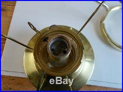 Aladdin BH23 Brass Heritage Hanging Lamp with M750 Blue Rose Shade ELECTRIC