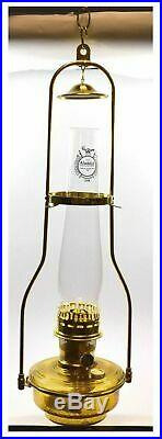 Aladdin BH815 Classic Tilt Frame Hanging Lamp with Brown Bowl & Solid Brass Parts