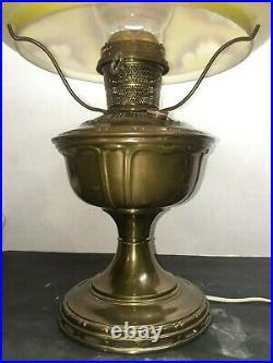 Aladdin BRASS Lamp 1915/1919 FLORAL Glass Shade, ELECTRIFIED