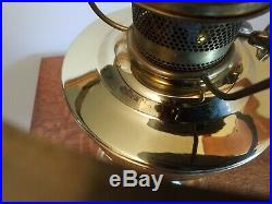 Aladdin Brass #23 Oil Lamp/Triple Rose Alacite Shade/Signed