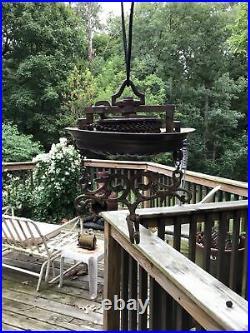 Aladdin Brass Kerosene Oil Lamp Pulldown Hanging Rare Spreaderbar Collectible
