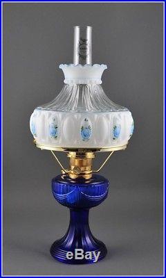 Aladdin C6177-750 Cobalt Short Lincoln Drape with Crystal Blue Rose Shade Lamp