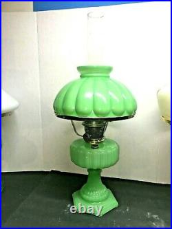 Aladdin CATHEDRAL Lamp Apple Green MOONSTONE JADE WITH Shade