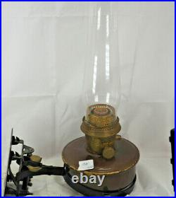 Aladdin Caboose oil Lamp Model B-400 steel brown iron wall bracket burner chimne
