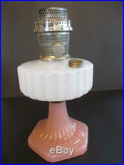 Aladdin Cathederal White Pink Oil Lamp Base With Model B Chicago Burner