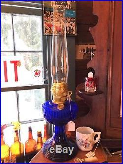 Aladdin Cobalt Blue Lincoln Drape Kerosene Oil Lamp