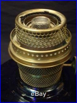 Aladdin Cobalt Blue Scallop Foot Tall Lincoln Drape Kerosene Lamp, All Original