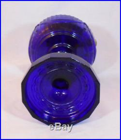Aladdin Cobalt Blue Tall Lincoln Drape Kerosene Lamp B Burner withScallop Foot