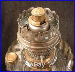 Aladdin Corinthian Clear & Black Amethyst Glass Kerosene Oil Lamp Model B Burner