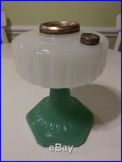 Aladdin Corinthian Lamp White over Green Moonstone kerosene gorgeous color B 125