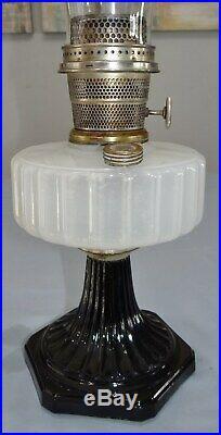 Aladdin Corinthian White Black Moonstone Glass Kerosene Oil Lamp Model B Vtg