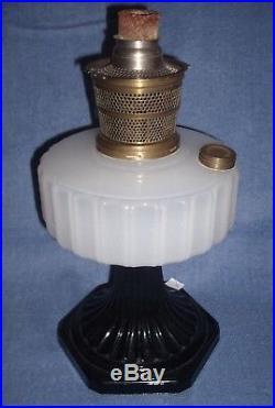 Aladdin Corinthian White Moonstone & Black Kerosene Lamp & Burner