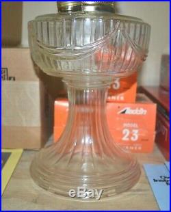 Aladdin Crystal Lincoln Drape Lamp, 23 Brass Burner, Lox-On Chimney