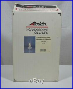 Aladdin Crystal Lincoln Drape Lamp, Model 23 Brass Burner, R150 Mantel, C6192