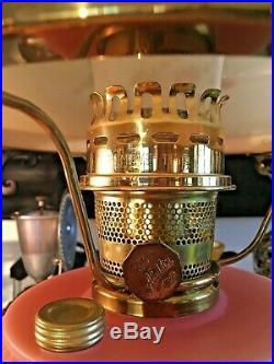 Aladdin Fenton Art Glass Burmese Grand Vertique Oil Lamp Ltd. Edition Year 1997