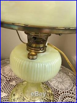 Aladdin Fenton Limited Edition'00 Vaseline Glass Grand Vertique Oil/Elec. Lamp