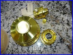 Aladdin Florentine Pink Moonstone Kerosene Oil Lamp Glass Vtg NICE