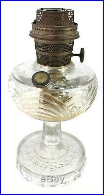 Aladdin Glass Mantle Lamp Washington Drape Clear Nu-Type Model B Kerosene Burner