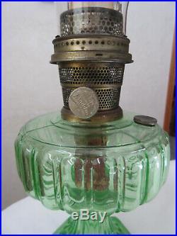 Aladdin Green Cathedral Kerosene lamp withburner & chimney very nice