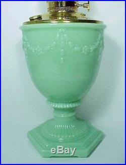 Aladdin Green Florentine Kerosene Oil Lamp Moonstone Jade Jadiete Glass Vase