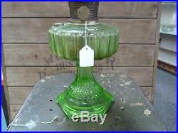 Aladdin Green Glass Oil / Kerosene Lamp Cathedral Nu-Type Model B, Complete, EUC