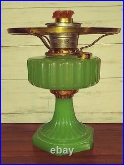 Aladdin Green Jadeite Corinthian Oil Lamp With Shade Ring And Model B. Burner
