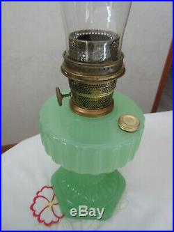 Aladdin Green Moonstone Cathedral Kerosene lamp withburner & chimney Very nice