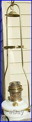 Aladdin Hanging Lamp Model B White Moonstone Font & Brass Tilt Frame Hanger