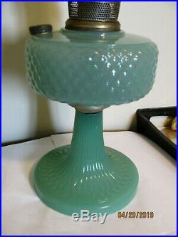 Aladdin Jadeite Green Quilt Pattern Oil Kerosene Lamp