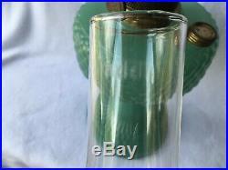 Aladdin Jadeite Green Quilt Pattern Oil Kerosene Lamp with chimney