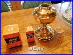 Aladdin Kerosene Lamp, new In Box, Brass Filigree complete w shade