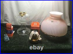 Aladdin Kerosene Mantle Lamp Crystal Lincoln Drape Lamp with Ribbed Pink Shade