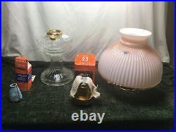 Aladdin Kerosene Mantle Lamp Crystal Lincoln Drape Lamp with Ribbed Pink Shade
