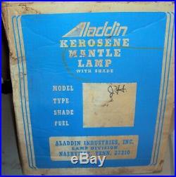 Aladdin Kerosene Mantle Lamp & Shade Circa 1970s NOS MIB Amber Lincoln Drape