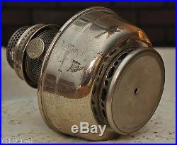Aladdin Kerosene Model 12 Nickel Plated Table Lamp -Good Burner Damage to base