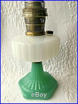 Aladdin Kerosene Oil Lamp Model B-110 Corinthian Moonstone White / Green Base