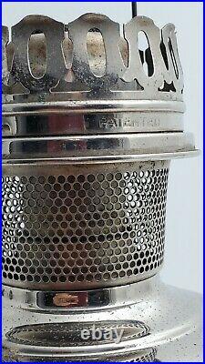 Aladdin Kerosene Oil Lamp Nickel Chrome Model 11 Aladdin Chimney 24'