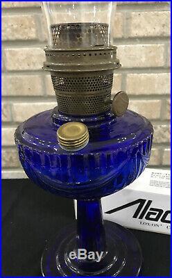 Aladdin Kerosene Oil Lamp Tall Lincoln Drape Cobalt Blue Nutype Model B Burner