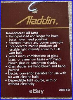 Aladdin Kerosene Oil Shelf Lamp Aluminum never used still in original box