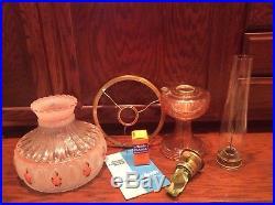 Aladdin Kerosene Table Lamp Pink Lincoln Drape Base Rose Shade 24 Tall Vintage