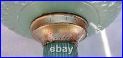 Aladdin Lamp B-86 Green Moonstone Diamond Quilt With Nickel B Burner & Chimney