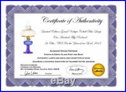 Aladdin Lamp Cobalt Blue Glass Grand Vertique, Brass, with Blue Violets Shade
