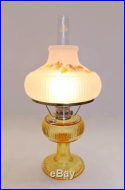 Aladdin Lamp Company Honey Amber Glass Grand Vertique Fall Oak Leaves Leaf Shade