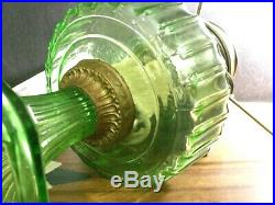 Aladdin Lamp Green Corinthian 23 Burner Kerosine Oil Glass Table Lamp 10 Shade