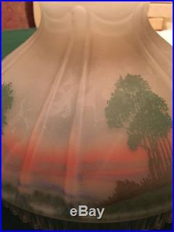 Aladdin Lamp, Green Moonstone Cathedral, Original Cabin Shade, Chimney, Mod B Burner