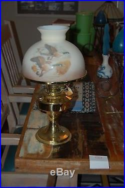 Aladdin Lamp Kerosene Converted To Electric with Water Fowl Glass Shade