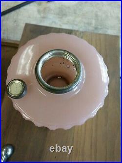 Aladdin Lamp Moonstone Pink Rose Corinthian Glass Lamp Base only Super Nice