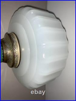 Aladdin Lamp Moonstone White & Green Corinthian Glass Lamp Base only Super Nice