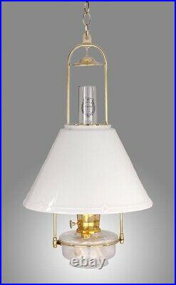 Aladdin Lamps Deluxe Clear Glass Hanging Lamp, with 14 Opal Slant Shade, #BH715